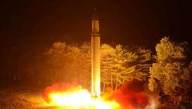 Intercontinental ballistic missile (ICBM) Hwasong-14 is pictured during its second test-fire.