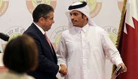 HE the Foreign Minister Sheikh Mohammed bin Abdulrahman al-Thani shakes hands with German Foreign Mi