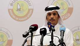 HE the Foreign Minister Sheikh Mohammed bin Abdulrahman al-Thani attends a joint news conference wit