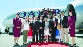 Officials and dignitaries mark the launch of the new Qatar Airways service to Nice.