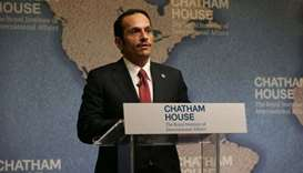 HE the Foreign Minister Sheikh Mohamed bin Abdulrahman al-Thani speaking at the Chatham House think