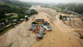 An areal view of flooded Asakura City, Fukuoka
