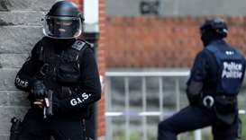 Belgian police special units take part in a mock terrorist attack in a theatre in Brussels