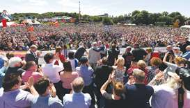 Labour Party leader Jeremy Corbyn addresses a rally at the Durham Miners Gala.