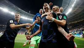 Croatia's Mario Mandzukic celebrates scoring their second goal with teammates