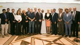 Board members of the newly-formed Swedish Chamber of Commerce in Qatar flank Swedish ambassador Ewa