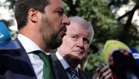 Italy's Matteo Salvini and Germany's Horst Seehofer are seen during a statement ahead of an informal