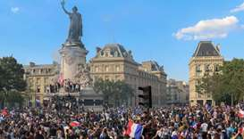 People celebrate France's victory in the Russia 2018 World Cup on the Place de la Republique