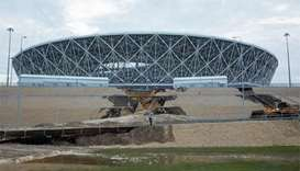 Heavy rain damages Russian World Cup stadium