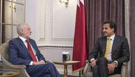 His Highness the Amir Sheikh Tamim bin Hamad Al-Thani on Monday met the Leader of the British Labor
