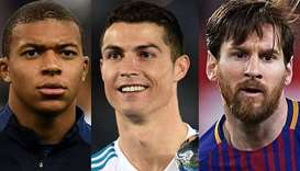 Ronaldo, Messi and Mbappe on FIFA player of the year shortlist