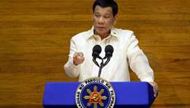 Philippine President Rodrigo Duterte delivers his State of the Nation address at the House of Repres