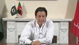 Imran Khan gives a speech as he declares victory in the general election in Islamabad, Pakistan.