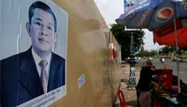 A poster of Cambodia's Prime Minister and Cambodian People's Party (CPP) President Hun Sen is seen a