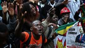 Supporters of the opposition Movement for Democratic Change party (MDC) of Nelson Chamisa, sing and