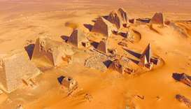 General view of the pyramids site at Meroe.
