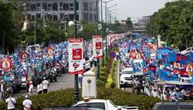 Supporters of the ruling Cambodian People's Party (CPP) gather during an election campaign in Phnom