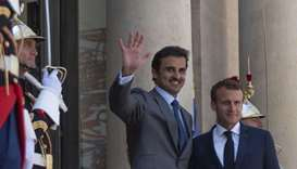 His Highness the Amir being received by President Macron at the Elysee Palace in Paris