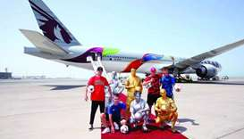 The bespoke Qatar Airways aircraft, which features distinctive FIFA branding, was hand-painted in Ir