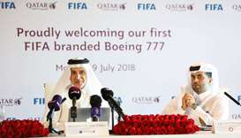 Al-Baker addresses a press conference at the Hamad International Airport