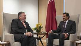 His Highness the Amir Sheikh Tamim bin Hamad al-Thani met with US Secretary of State Mike Pompeo in