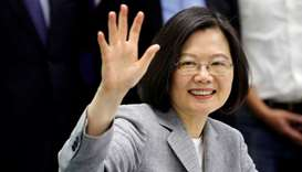 Taiwan president leaves for US, warns of threat from 'overseas forces'