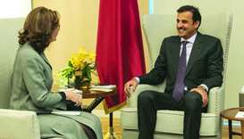 His Highness the Amir Sheikh Tamim bin Hamad al-Thani with the Director of the Central Intelligence