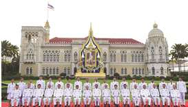 Thailand's Prime Minister Prayut Chan-ocha (front centre) poses with members of the new Thai cabinet