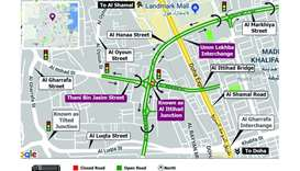 Partial closure on Al Hanaa Street with Thani Bin Jasim Street Intersection