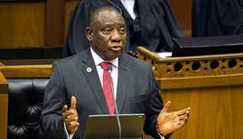 South African President Cyril Ramaphosa delivers his State of the Nation Address at parliament in Ca