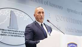 Kosovo Prime Minister Ramush Haradinaj speaks during a press conference at the government headquarte