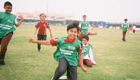 "Location - Al Wakrah Academy: ""They are celebrating a goal as a team – everyone is sharing the succe"