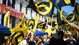 Members of far-right identitarian movement demonstrate in Halle, Germany,