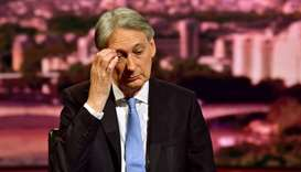 Britain's Chancellor of the Exchequer Philip Hammond appears on BBC TV's The Andrew Marr Show in Lon
