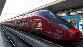 Italo' high-speed train for the NTV (Nuovo Trasporto Viaggiatori) is seen at the Termini railway sta