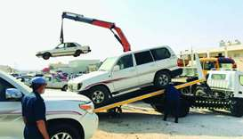 Joint campaign removes abandoned cars in Al Sheehaniya Municipality