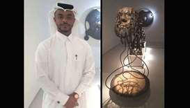 Artist Mohamed Faraj al-Suwaidi and his artwork 'Fabricated Emergence (2019)'