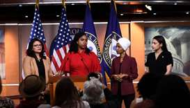 US Representatives Ayanna Pressley (D-MA) speaks as, Ilhan Omar (D-MN)(2R), Rashida Tlaib (D-MI) (R)