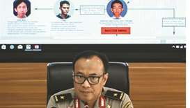 Indonesia's national police spokesman, Dedi Prasetyo, briefs journalists during a press conference i