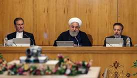 President Hassan Rouhani (C) chairing a cabinet meeting in the capital Tehran.