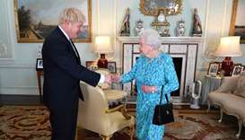 Britain's Queen Elizabeth II welcomes newly elected leader of the Conservative party, Boris Johnson