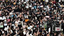 People demonstrate during a protest against the Yuen Long attacks in Yuen Long, New Territories