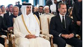 His Highness the Amir Sheikh Tamim bin Hamad Al -Thani attended the national funeral ceremony at the