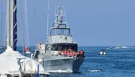 A ship with rescued  migrants aboard