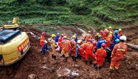 Rescuers working at the site of a landslide in Liupanshui in China's southwestern Guizhou province