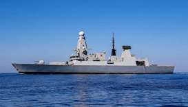 British Type 45 Destroyer HMS Duncan at sea in the Mediterranean off Crete