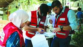 The Qatar Red Crescent Society (QRCS) personnel monitoring the polio vaccination campaign in Syria.