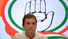 Indian National Congress Party president Rahul Gandhi looks on during a press conference in New Delh