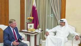 His Highness the Amir Sheikh Tamim bin Hamad al-Thani received US Senator Lindsey Graham at Al Bahr