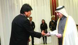 Bolivia President Evo Morales Ayma has received the credentials of HE the Ambassador of the State of